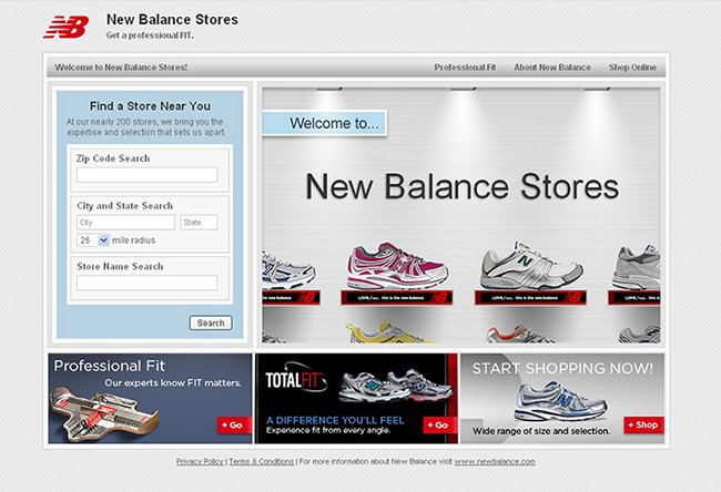 New Balance stores main page