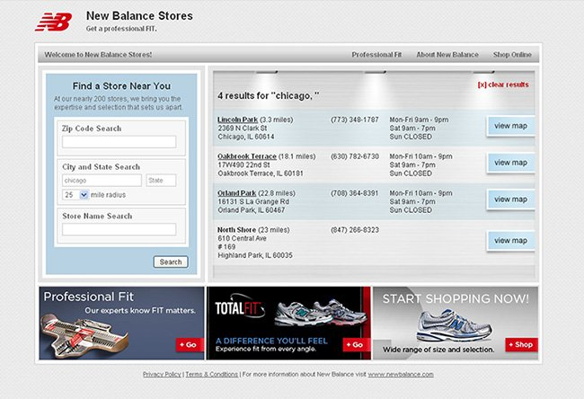 New Balance stores search page