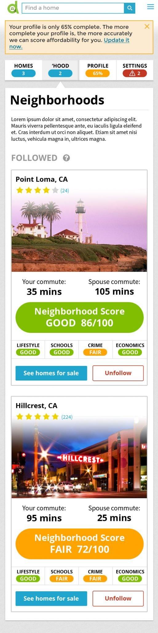 account followed neighborhoods mobile