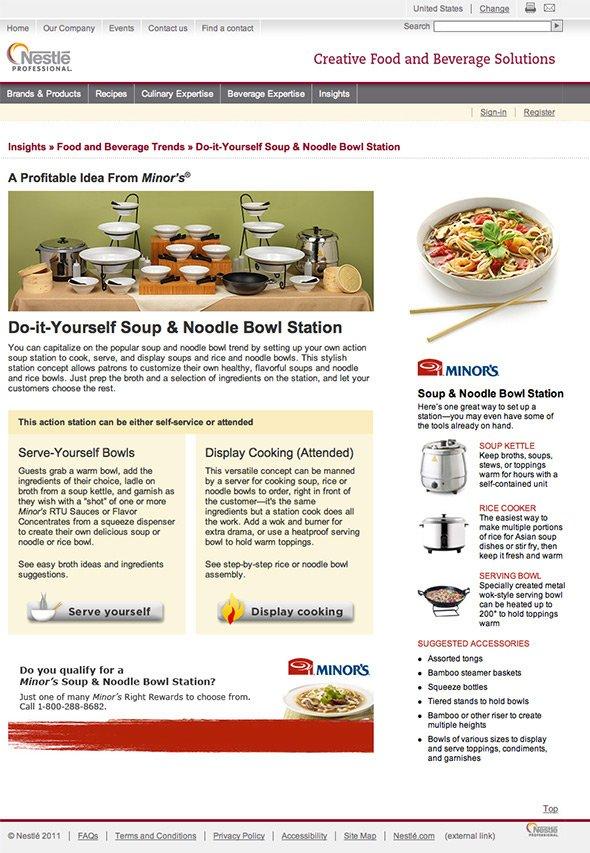 Nestle Minor's soup station landing page