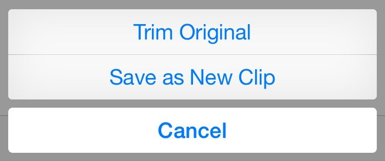 iPhone dialog box showing trim original and save as new clip options