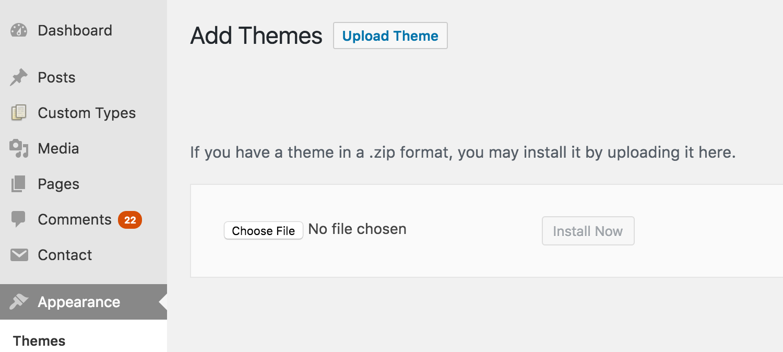 adding wordpress themes