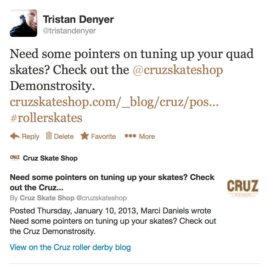 Cruz blog on Twitter