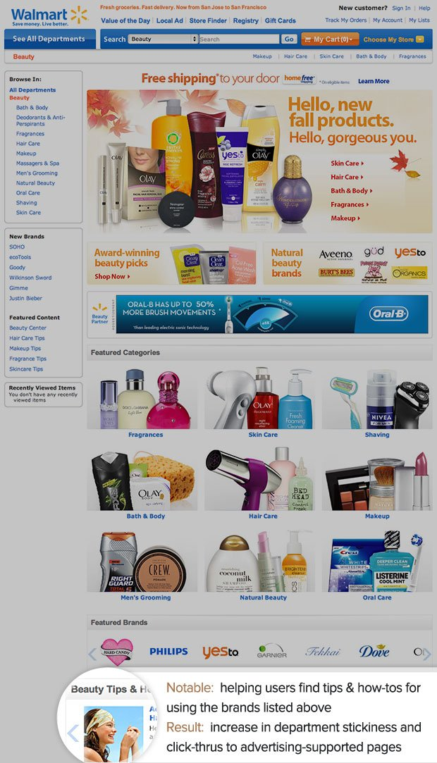 walmart beauty department landing page