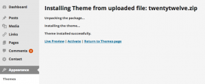 installing wordpress theme